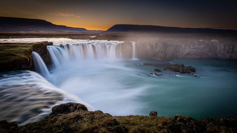 sunset at Goðafoss waterfall in north Iceland