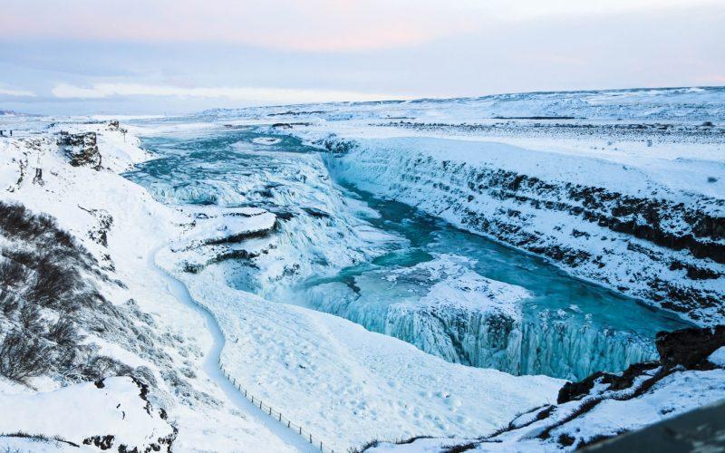 Gullfoss waterfall in Golden Circle in winter