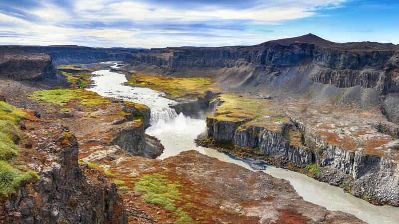 Hafragilsfoss waterfall in the diamond circle in north Iceland