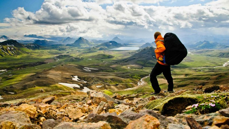 a man Hiking in Iceland