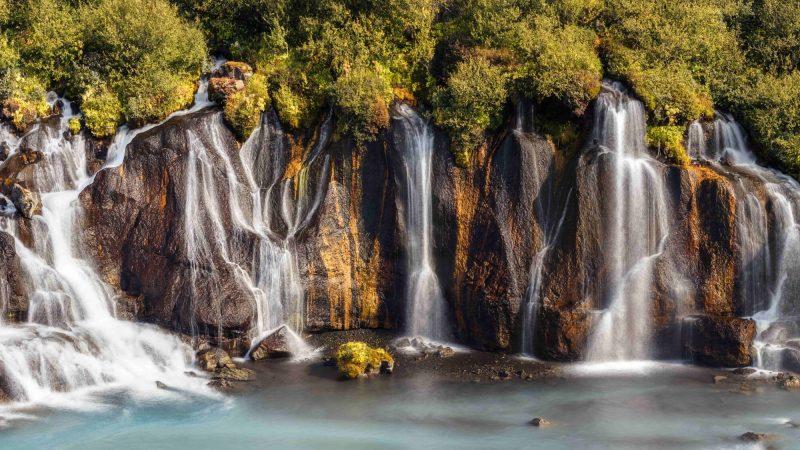 Hraunfossar waterfalls in east Iceland