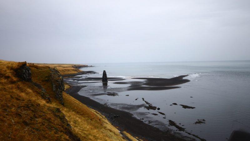 Hvítserkur cliff and black sand beach in north Iceland