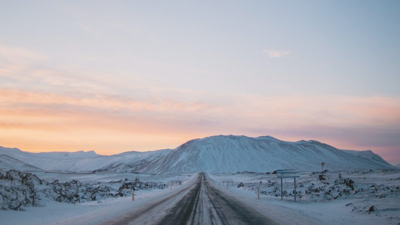 Iceland in January, winter sunset in Iceland, winter road trip in Iceland