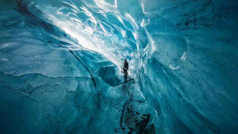 natural blue crystal ice cave in Iceland