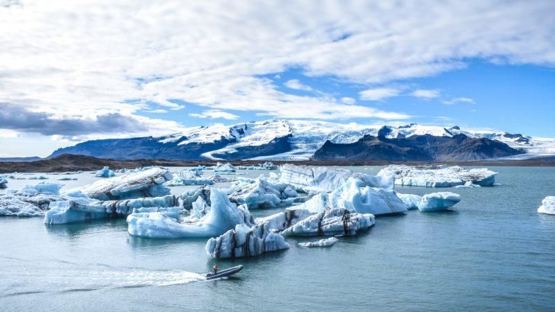 boat sailing on Jokulsarlon glacier lagoon in south east Iceland