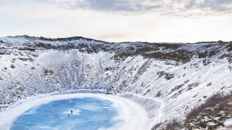 winter at Kerið Crater in Golden Circle in Iceland