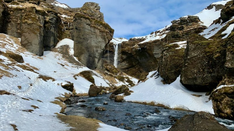 Kvernufoss waterfall during winter in Iceland, walk behind waterfall in south Iceland