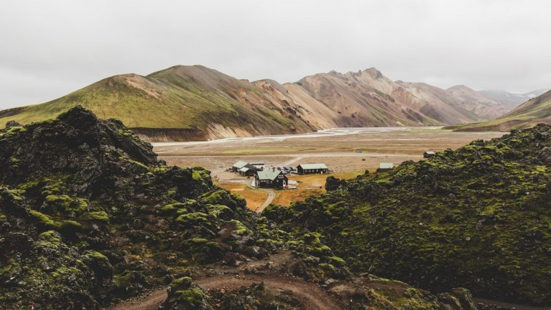 Landmannalaugar huts in the highlands of Iceland