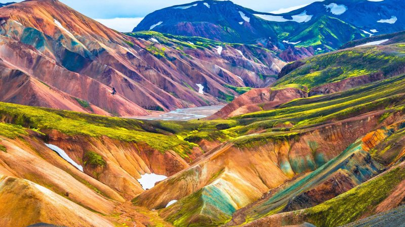 Colorful hills in Landmannalaugar in the highlands of Iceland