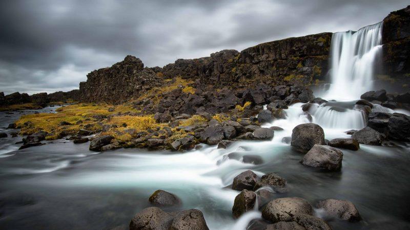 Öxarárfoss waterfall in Thingvellir National Park in the Golden Circle