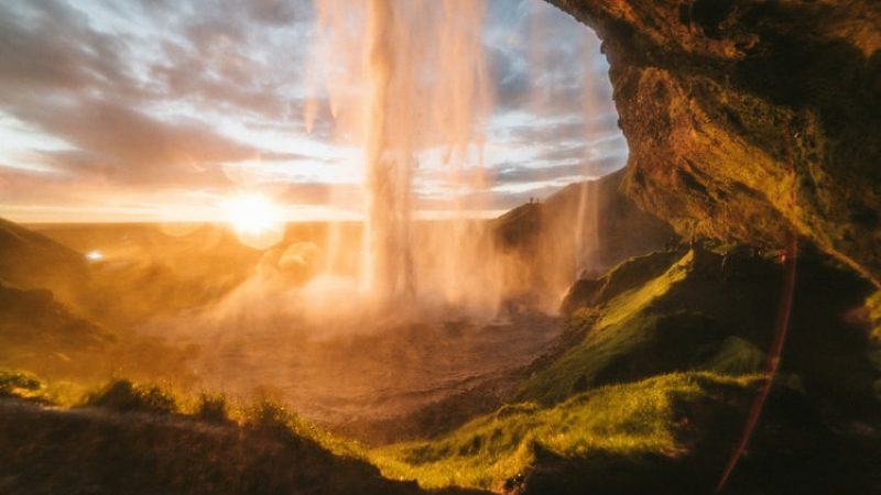 Seljalandsfoss walk behind waterfall on the south coast of Iceland