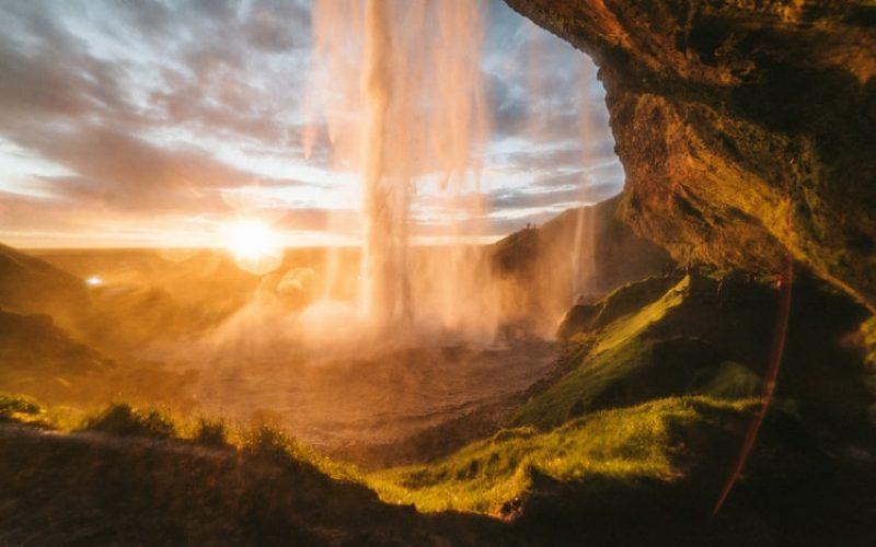 Seljalandsfoss walk behind waterfall on the south coast of Iceland