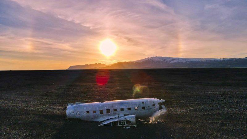 sunset at Solheimasandur plane wreck in south Iceland