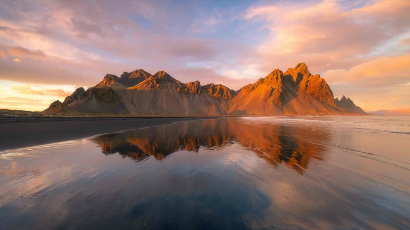 midnight sunset at Stokksnes and Vestrahorn in south east Iceland