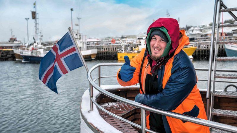 Icelandic fisherman on a boat in Reykjavik