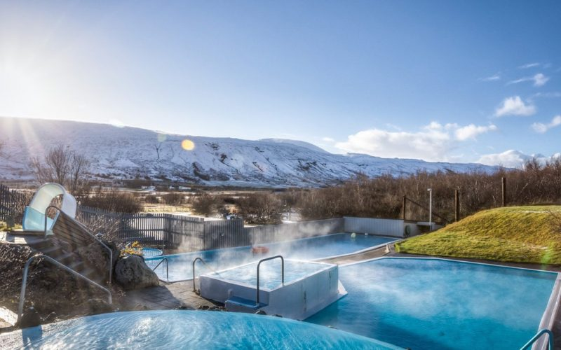 The swimming pool in Húsafell in west Iceland