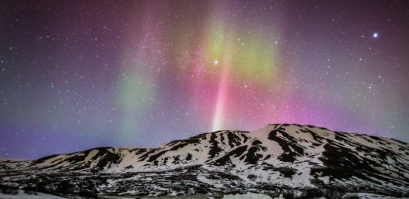 green and purple Northern lights in Iceland