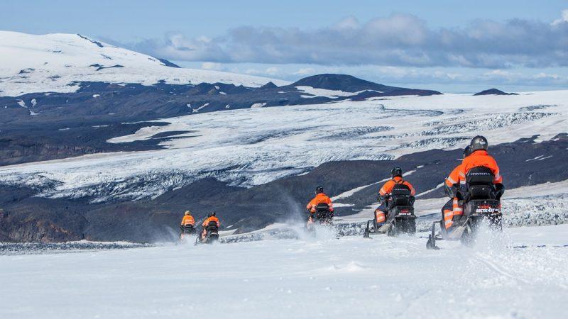 Snowmobile on Myrdalsjokull glacier in south Iceland