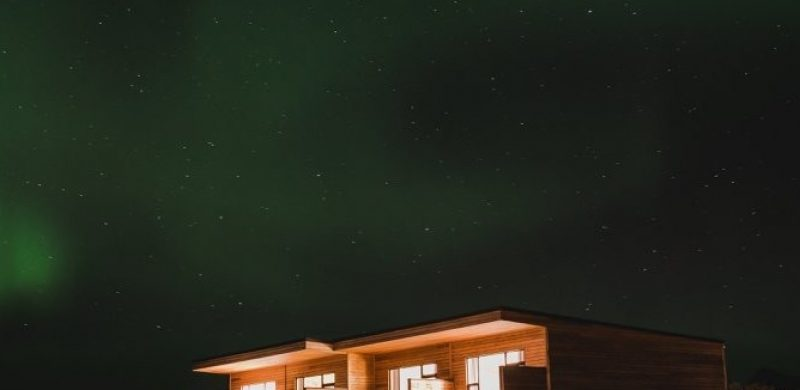 Northern Lights at the Black Beach Suites in south Iceland Vík, accommodation in Iceland