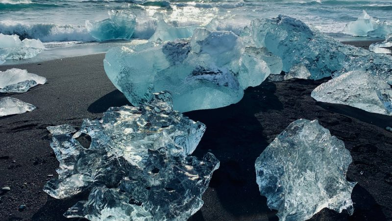 icebergs on the Diamond Beach in south Iceland
