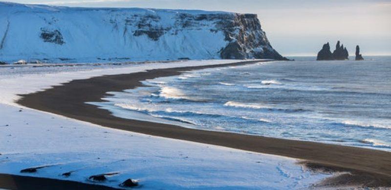 Reynisfjara black sand beach in South Iceland during winter