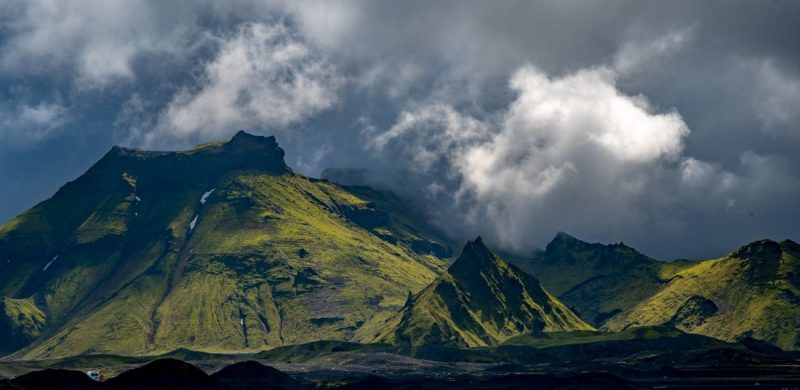 view over the highlands from Katla Ice Cave under the volcano glacier