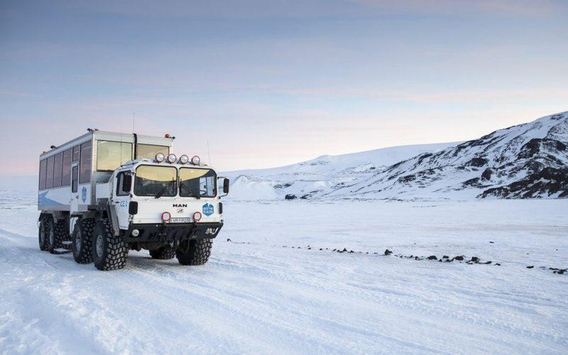 glacier truck on the way into the glacier