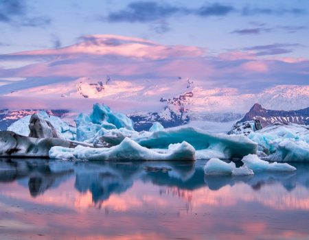 midnight sun glacier lagoon