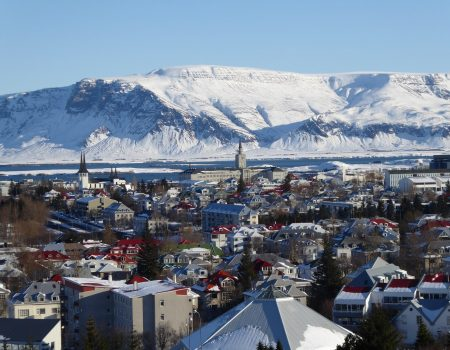 Downtown Reykjavik and Esjan mountain
