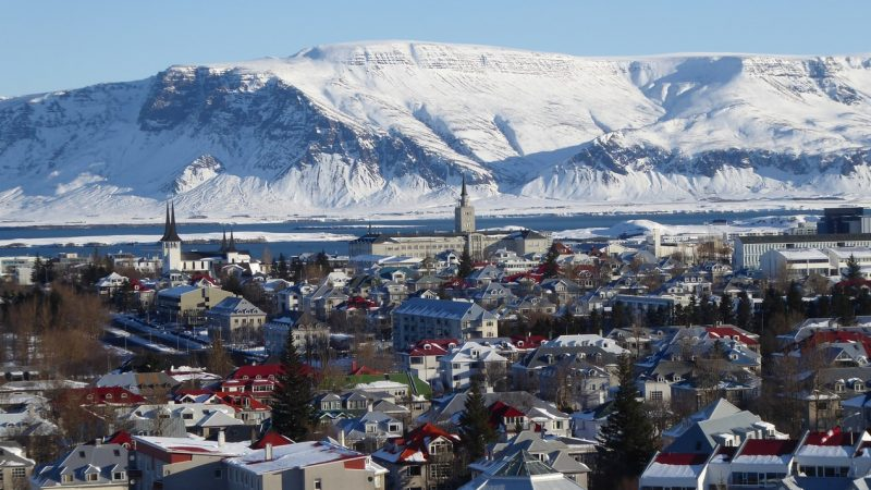 Downtown Reykjavik and Esjan mountain