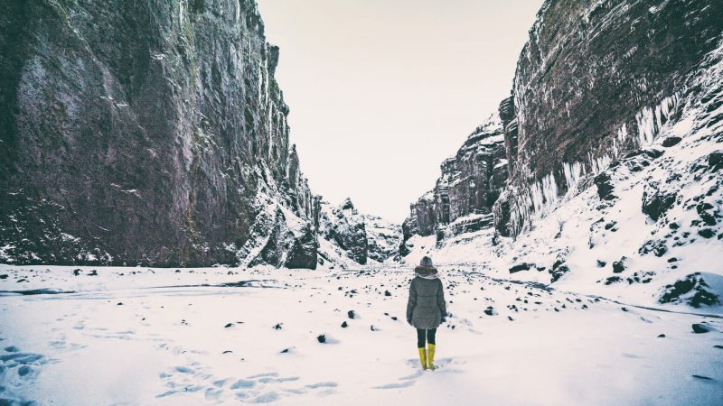 Stakkholtsgja canyon during winter, game of thrones location in Iceland