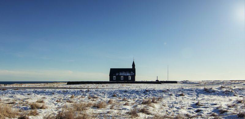 Búðarkirkja black church in Búðir Snæfellsnes during winter
