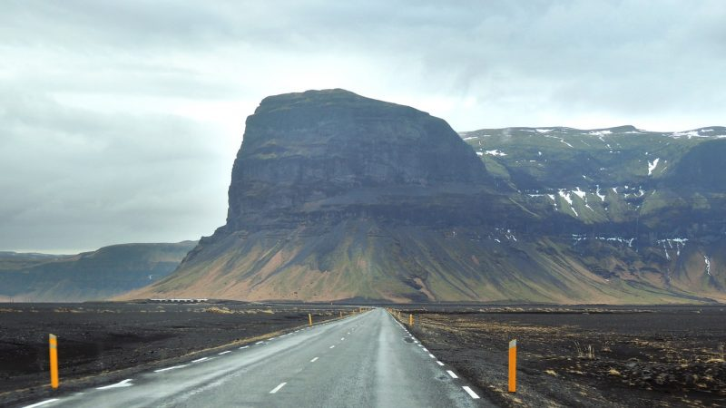 Self Driving road trip next to Lómagnúpur in south Iceland