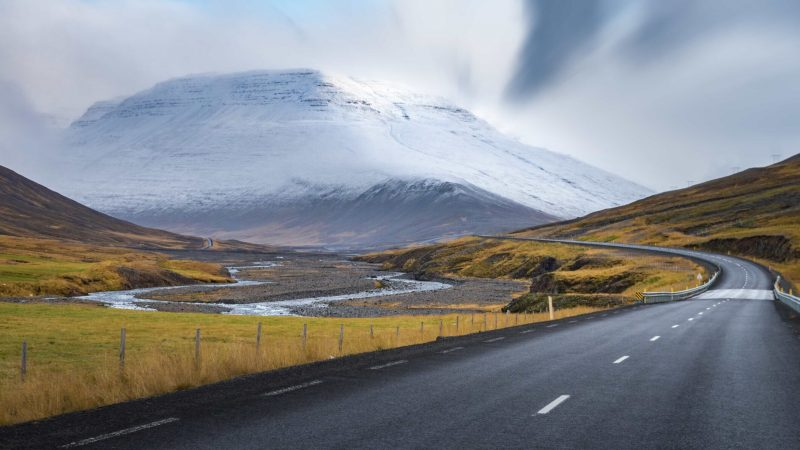 Self Driving road trip in Iceland with view over the glacier