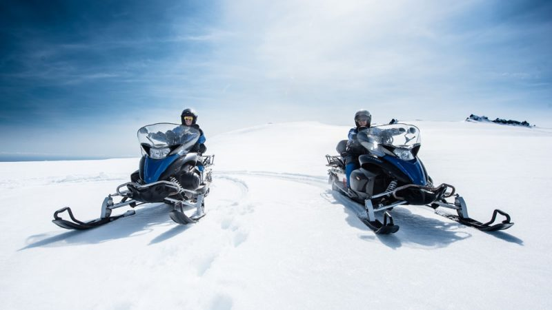 snowmobile on Vatnajokull the largest glacier in Europe