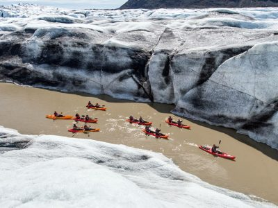 Glacier Kayaking Adventure at Heinabergslón glacier lagoon in south Iceland