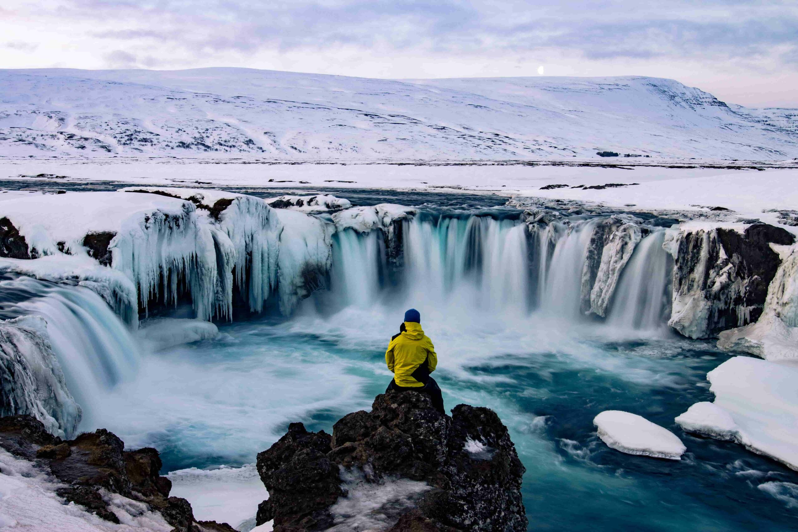 Goðafoss in winter in Iceland, Iceland in January