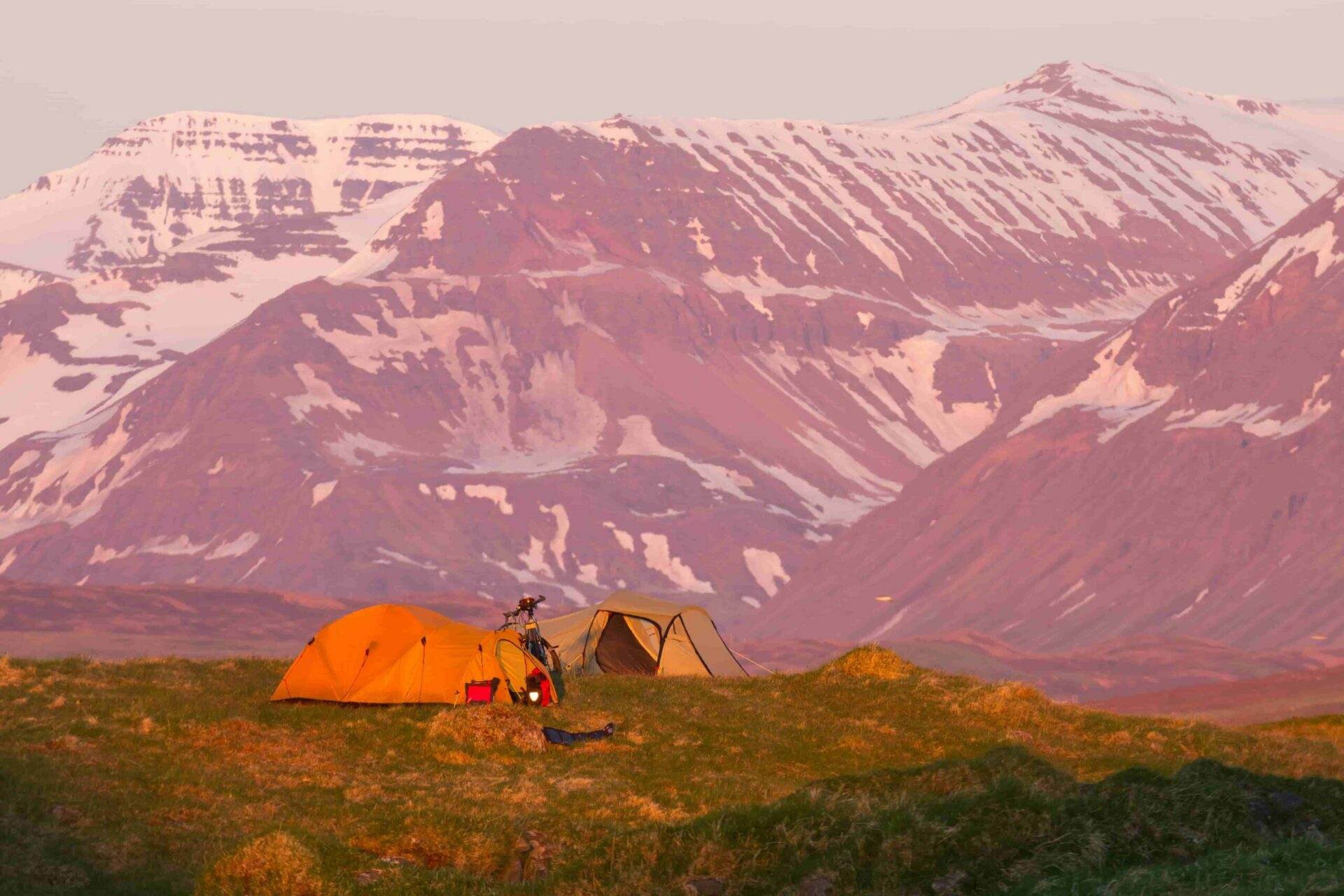 Camping in Iceland in July, Midnight sun in Iceland