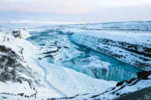Gullfoss waterfall in Golden Circle in winter