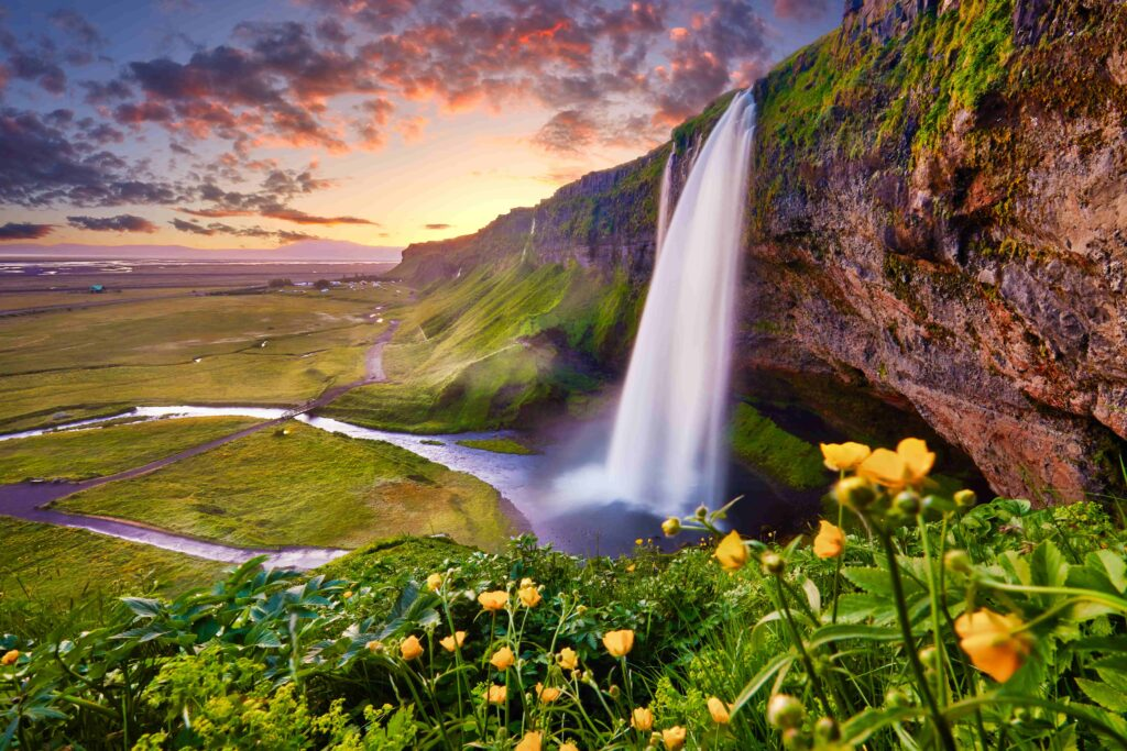 Seljalandsfoss waterfall on the south coast of Iceland