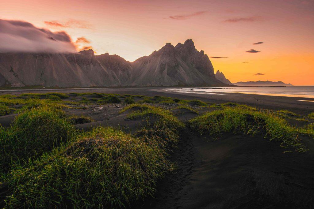 Stokksnes midnight sun in Iceland in July