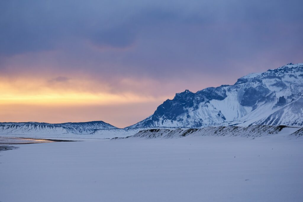 Iceland in January, winter sunset in Iceland