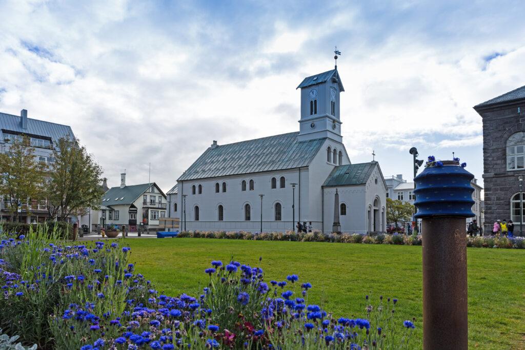Domkirkja church at Austurvöllur park in downtown Reykjavik