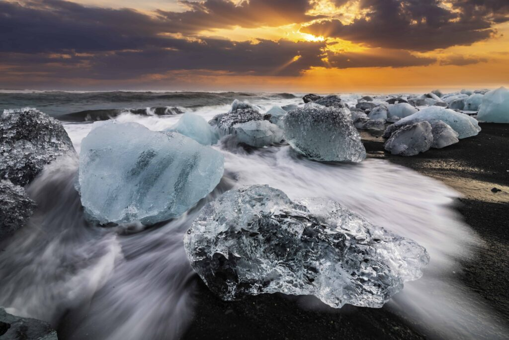 sunset at Diamond Beach in south Iceland