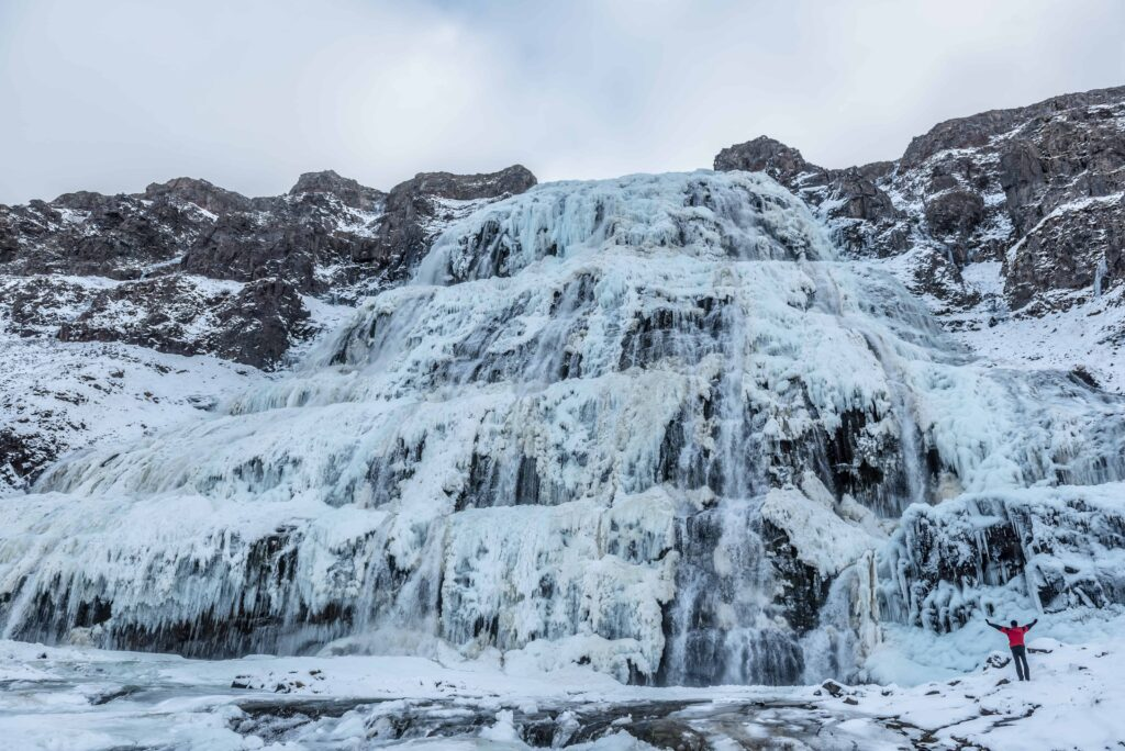 Dynjandi waterfall in the Westfjords during winter