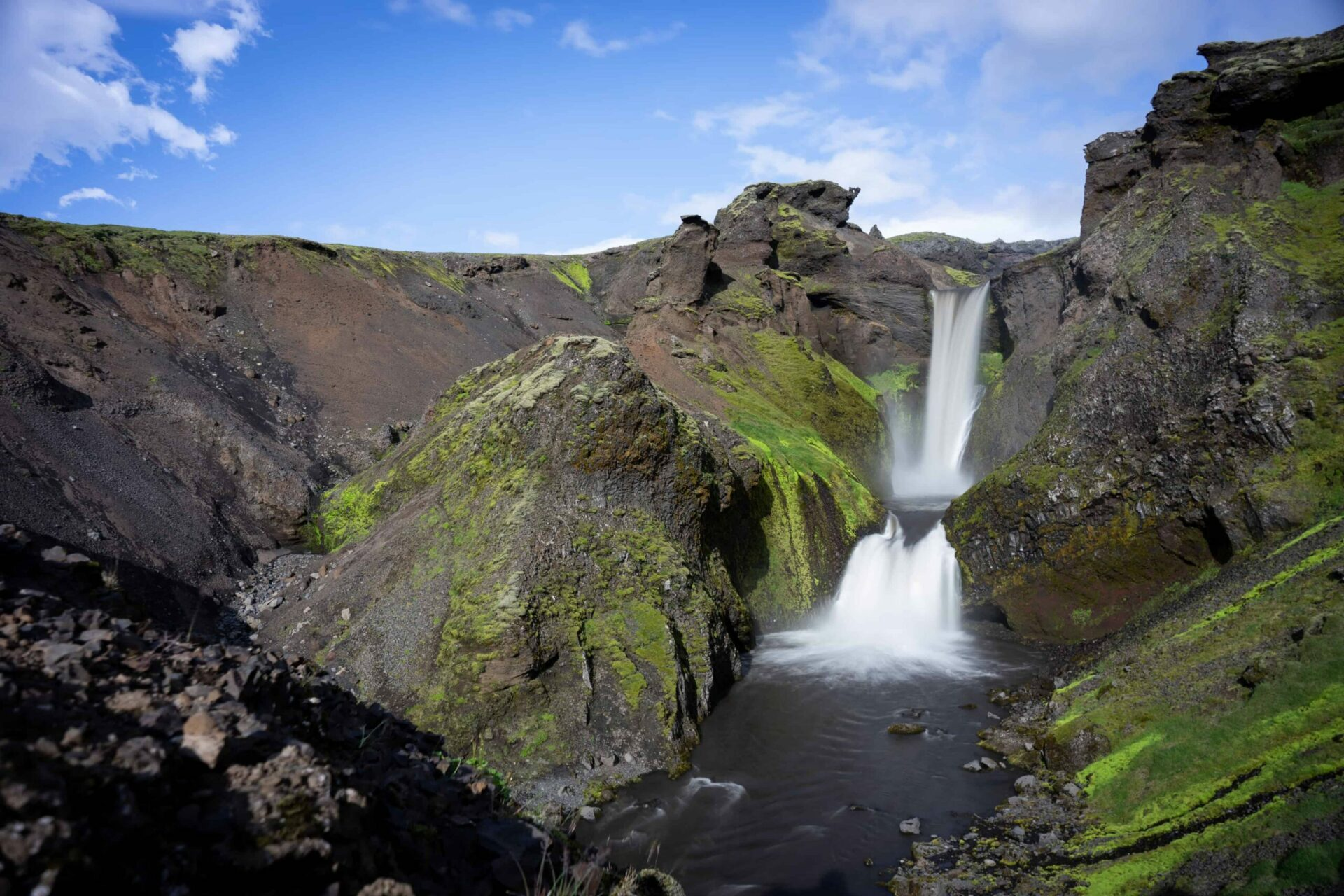 waterfall on the Fimmvorduhals hiking trail in the highlands of Iceland