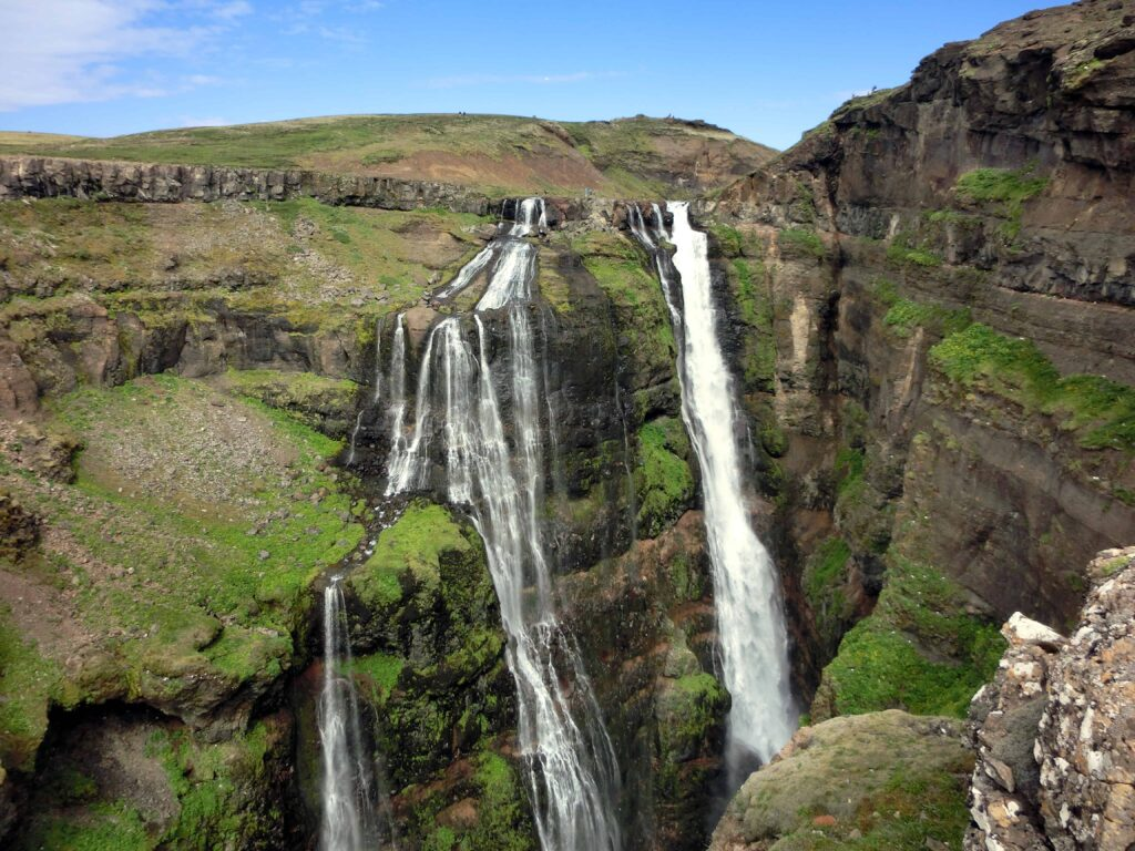 Glymur waterfall and hike in west Iceland