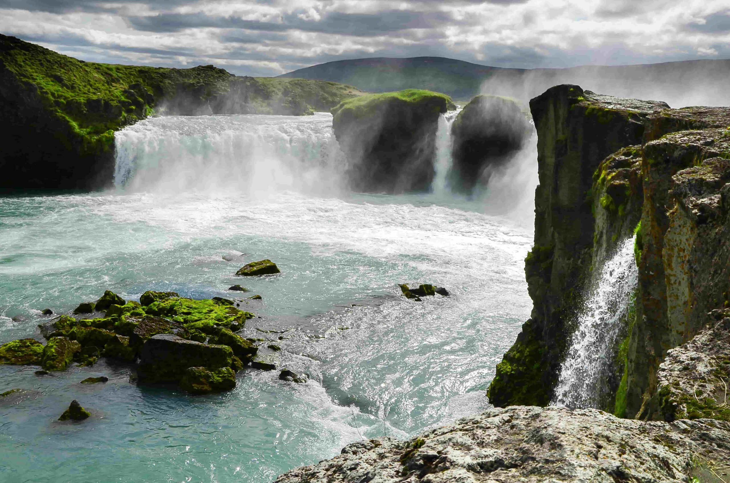 Goðafoss waterfall seen from the west side