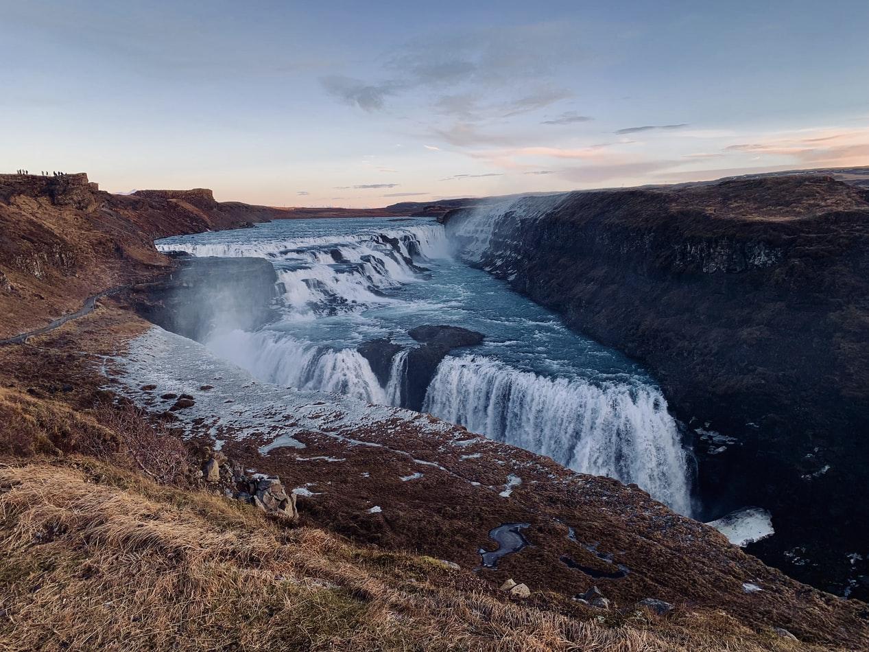 autumn view over Gullfoss waterfall in Golden Circle