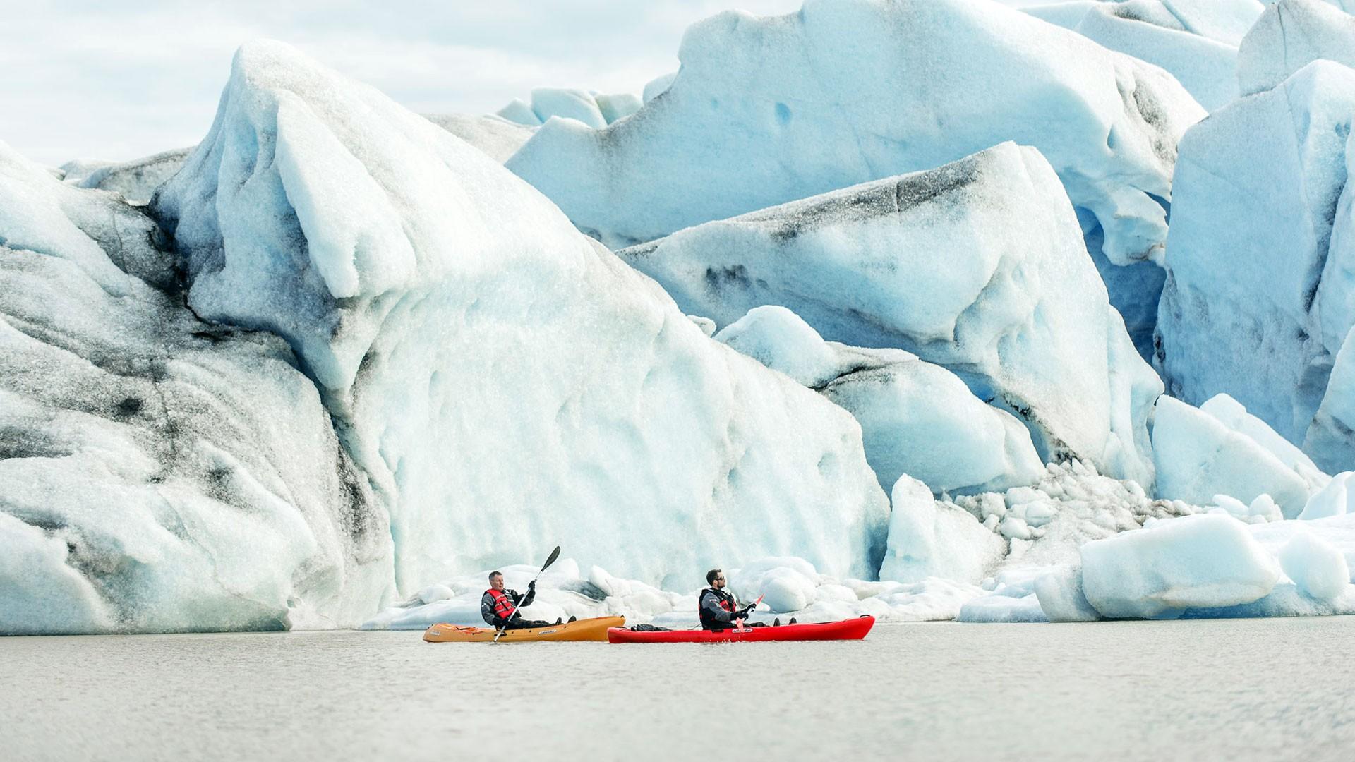 Glacier Lagoon Kayaking in Iceland, kayaking between icebergs